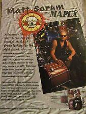 Guns N' Roses, Matt Sorum, Mapex Drums, Full Page Vintage Promotional Ad, N