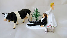 Wedding Party Reception Farmer Rancher Holstein Dairy Cow Farm Cake Topper
