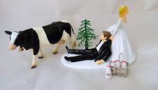 Wedding Party Reception Farmer Rancher Holstein Dairy Cow Farm Cake Topper