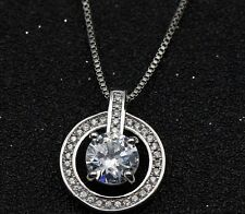 """Sterling Silver Circle Cubic Zirconia Heart Pendant Necklace 18"""" Chain Gift E15"""