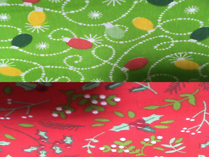 Red Green Christmas Printed Polycotton Fabric 114cm Wide Mistletoe Holly Lights