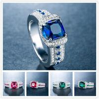 Elegant Women 3 Colors Gemstone 925 Silver Jewelry Wedding Ring Size 6-10
