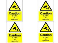 CCTV Camera Warning Signs (A5) 4 Pack of Quality Screen Printed Signs 15 x 10cm