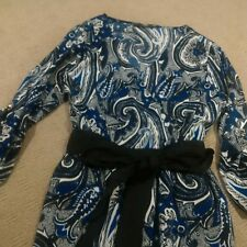 Events Size 10 Blue Paisley Dress with Fabric belt