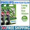 Philips Long Life Vision P21W P21/5W W5W Stop Tail Side Light Bulbs (Twin Pack)