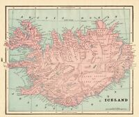 1895 Antique ICELAND Map Vintage Map of Iceland Home Decor Gallery Wall Art 7984