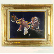 """Louis 'Satchmo' Armstrong"" By Anthony Sidoni Signed Oil on Canvas 18 1/2x22 1/4"