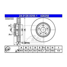 2 St. ATE 24.0128-0250.1 Bremsscheibe   Ford Mondeo IV Mondeo IV Turnier