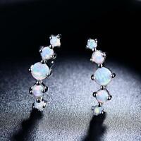 Opal Feuer Ohrstecker 925er Sterlingsilber Damen Frauen Ohrringe Blau Weiß Neu