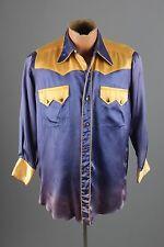 Vtg 30s 40s Rayon Lone Star Western Button Down Shirt sz M 1930s 1940s #2427