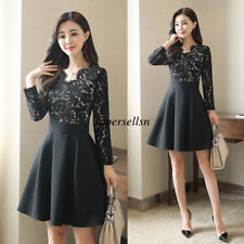 Korean Women Lace Slim Cocktail Evening Party Formal Prom Tunic Bubble Dress New