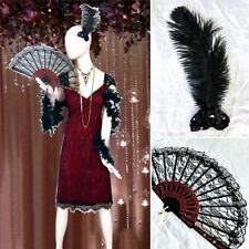 4 PC Western SALOON Girl FLAPPER COSTUME Lace FAN Dress BOA FEATHER Hairpiece