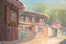 Vintage gouache painting country house landscape