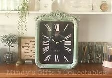 64cm Tall Vintage Style Moulded Surround Green Wall Clock Wooden Timber Frame