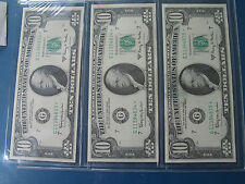 USA $10 FEDERAL RESERVE NOTE 1963A STAR SET OF 3 SEQUENTIAL SERIAL NUMBERS CU