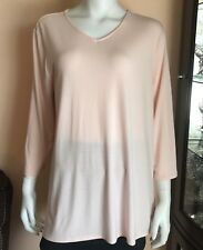 NWT Chicos Pale Dogwood Pink Jimma V-Neck Tunic Top 3/4 Sleeve Stretch Size 2
