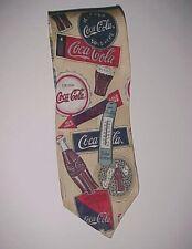Coca-Cola Vintage Fountain Service 5 Cents Coke Beige Motif 100% Men's Silk Tie