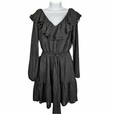 Michael Kors Black Dress A Line Long Sleeve Belted Ruffled Neckline Size Medium