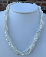 14K YELLOW GOLD MULTI STRAND BRAIDED PEARL NECKLACE