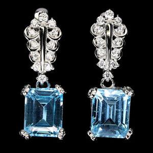 Octagon Sky Blue Topaz 9x7mm Cz White Gold Plate 925 Sterling Silver Earrings