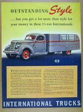 1939 IH International Harvester D-30 D30 Stake Truck color art vintage print Ad