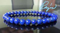 "Genuine LAPIS LAZULI bead bracelet for MEN or WOMEN Stretch 6mm Blue - 7.5"" inch"