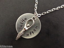 """White Witch Goddess hand stamped pendant necklace pagan wiccan gift silver 18"""""""
