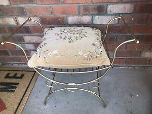 VINTAGE Mid Century Hollywood Regency gold Metal Vanity W/Cushion 1960's