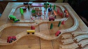 Wooden road and rail set vehicles bundle road works accessories fits thomas brio