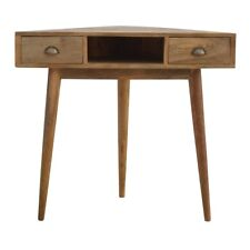 Scandi Style Corner Writing Desk with 2 Drawers