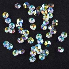 50 AB Chandelier Crystals Lamp Parts 2 Holes OCTAGON Beads Connector 14mm Decor