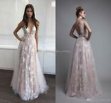2018 Sexy V Neck Formal Evening Dress Lace A Line Celebrity Pageant Prom Gown