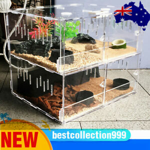 4 Grid Acrylic Reptile Cage Breeding Box Lizard Insect Crawling Tank  Pet Tool