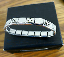 Bracelet Stainless Steel Stretch Link with Football Charms in Gift Box