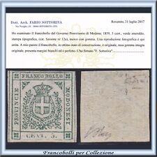 ASI 1859 Modena Governo Provvisorio cent. 5 verde n. 12a Certific. Antichi Stati
