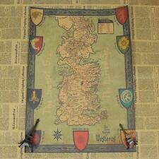 Game of Thrones Retro World Map Kraft Paper Movie Poster Vintage Wall Art Craft