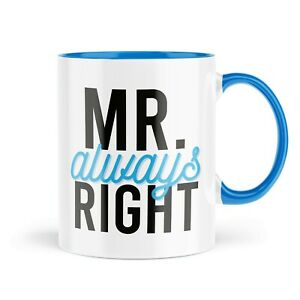 Funny Mugs   Mr Always Right Mug   Hubby Office Him Blue Handle Cup   MBH1294