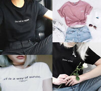 New Funny Letters Printed T-shirts Women Men Summer Tees Tops Girl Birthday Gift