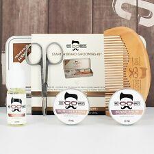 Beard Grooming Care Kit Gift Tin   Balm, Wax, Oil, Comb & Scissors   2 Scents