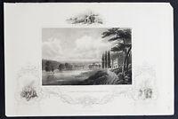 1843 J&F Tallis Antique Print of The City of Schenectady, Mohawk River, New York