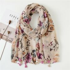 New womens beige purple floral tassels large shawl 180*90 cotton voile scarf