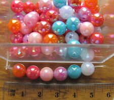 70 opaque smooth round AB acrylic plastic beads 8mm choose colour