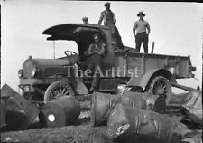 Old  vintage PHOTO of Construction Workers & Barrels  from Watertown New York