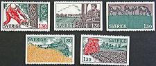 Timbre SUÈDE / Stamp SWEDEN Yvert et Tellier n°1042 à 1046 n** (cyn9)