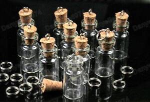EMPTY GLASS BOTTLE + CORK charm PENDANT kitsch FILLABLE bottles vials w/loop