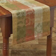 "Park Designs Leaves Abound Jacquard Table Runner 13 x 36"" Green Brown Orange"