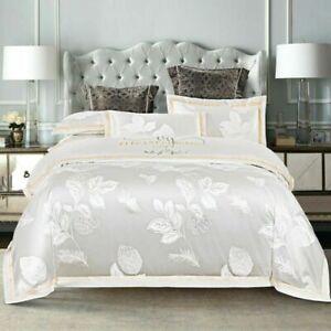 Duvet Cover Queen King Size 4Pcs Breathable Bedding Set Bed Sheet Pillow Shams