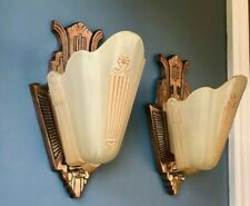 Art Deco Slip Shade Sconces Pair Antique Wall Fixtures