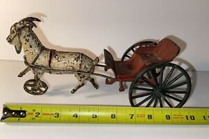 Early Harris (?) Cast Iron Goat Wagon Carriage Antique Vintage Toy Nice!