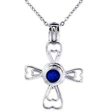 K270 Silver Alloy 36mm Hollow Heart Cross Locket Beads Cage Stainless Necklace